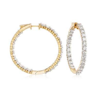 10.00 ct. t.w. Diamond Inside-Outside Hoop Earrings in 14kt Yellow Gold, , default
