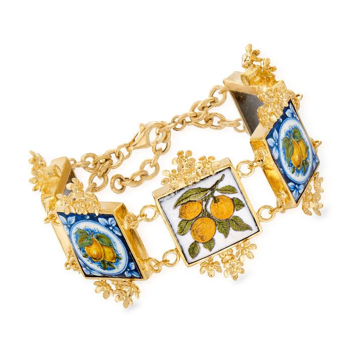 """Italian Majolica Tile Bracelet in 18kt Gold Over Sterling. 7"""", , default"""