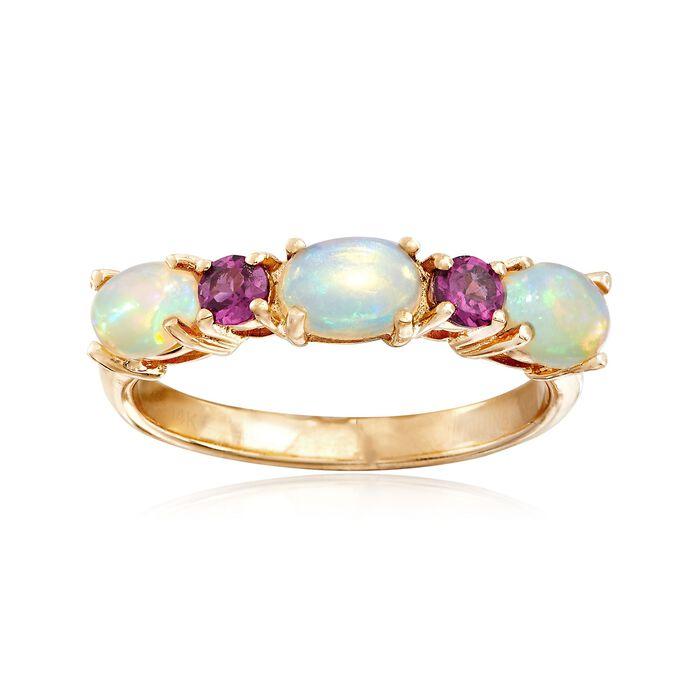 Ethiopian Opal and .20 ct. t.w. Rhodolite Garnet Ring in 14kt Yellow Gold, , default