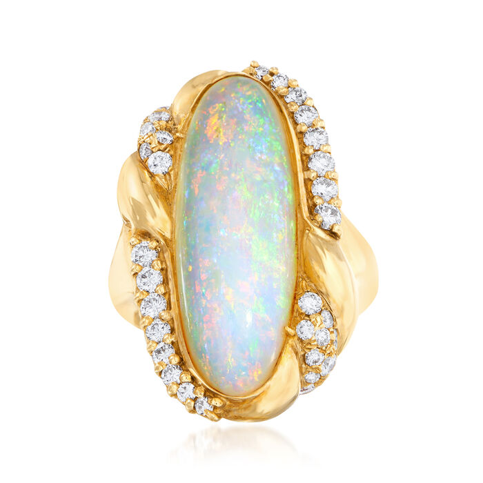 C. 1980 Vintage Opal and .65 ct. t.w. Diamond Ring in 14kt Yellow Gold. Size 5