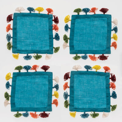 Joanna Buchanan Set of 4 Turquoise Linen Tassel Cocktail Napkins, , default