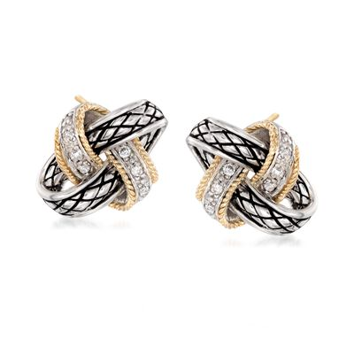 "Andrea Candela ""Nudo De Amor"" .13 ct. t.w. Diamond Love Knot Earrings in Sterling Silver and 18kt Gold"