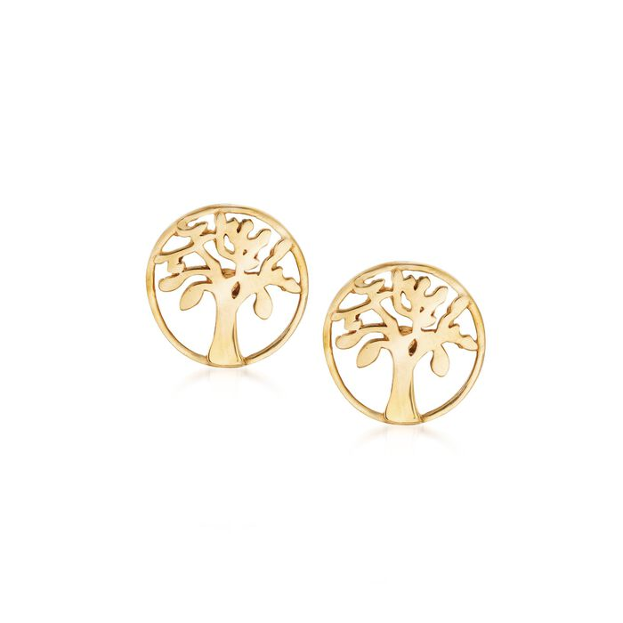 18kt Yellow Gold Tree of Life Stud Earrings