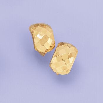 "14kt Yellow Gold Diamond-Cut Half-Hoop Earrings. 1/2"", , default"