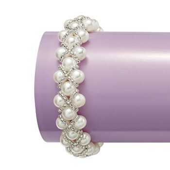 """7-7.5mm Cultured Pearl and Gray Glass Bead Stretch Bracelet. 7"""", , default"""