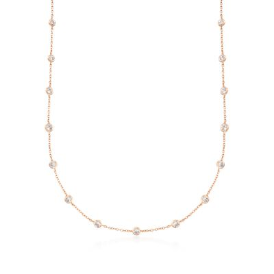 5.25 ct. t.w. CZ Station Necklace in 18kt Rose Gold Over Sterling