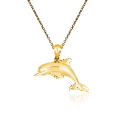 14kt Yellow Gold Dolphin Pendant Necklace