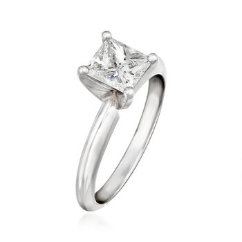 1.01 Carat Certified Diamond Solitaire Ring in Platinum. Size 6