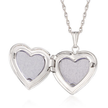 """Mom & Me Heart Locket Necklace Set of Two with Diamond Accents in 14kt White Gold. 15""""-18"""", , default"""
