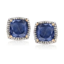 7.75 ct. t.w. Sapphire and .27 ct. t.w. Diamond Earrings in 14kt Yellow Gold, , default