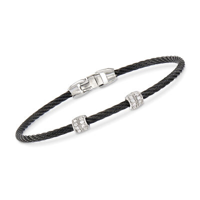"ALOR ""Classique"" Black Stainless Steel Cable Station Bracelet with .13 ct. t.w. Diamonds and 18kt White Gold, , default"
