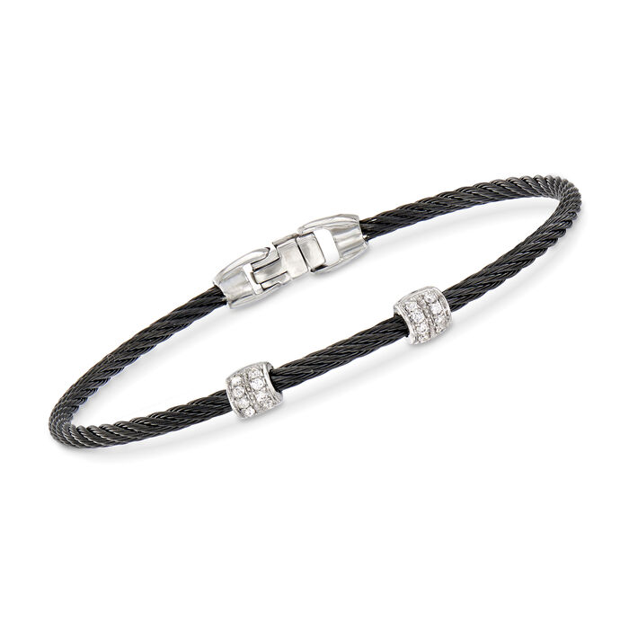 "ALOR ""Classique"" Black Stainless Steel Cable Station Bracelet with .13 ct. t.w. Diamonds and 18kt White Gold. 7"""