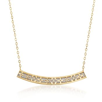 Italian 14kt Yellow Gold Curved Bar Necklace With Geometric Cutout, , default