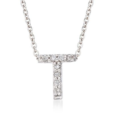 "Roberto Coin ""Love Letter"" Diamond Accent Initial ""T"" Necklace in 18kt White Gold"