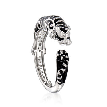 "Belle Etoile ""Tigre"" Black Enamel and .59 ct. t.w. CZ Cuff Bracelet in Sterling Silver. 7.5"", , default"