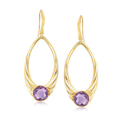 Italian .70 ct. t.w. Amethyst Open-Oval Drop Earrings in 14kt Yellow Gold