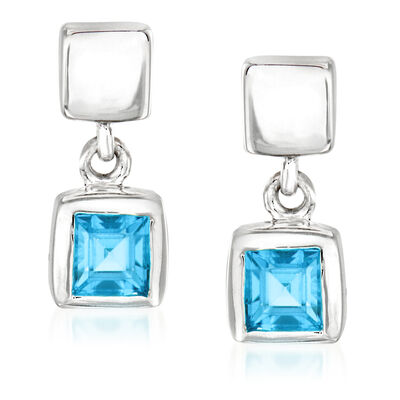 "Zina Sterling Silver ""Ice Cube"" .40 ct. t.w. Blue Topaz Drop Earrings"