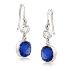 C. 2000 Vintage 2.25 ct. t.w. Sapphire and .25 ct. t.w. Diamond Drop Earrings in 18kt White Gold, , default
