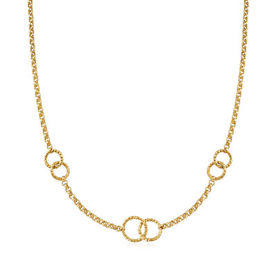Italian 18kt Yellow Gold Interlocking Circle Necklace