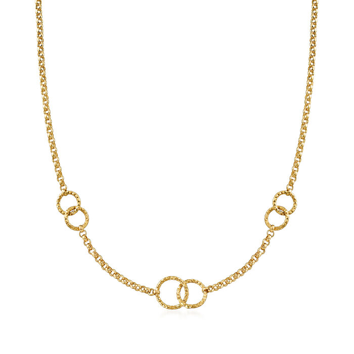 Italian 18kt Yellow Gold Interlocking Circle Necklace, , default