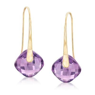 7.00 ct. t.w. Amethyst Drop Earrings in 14kt Yellow Gold, , default