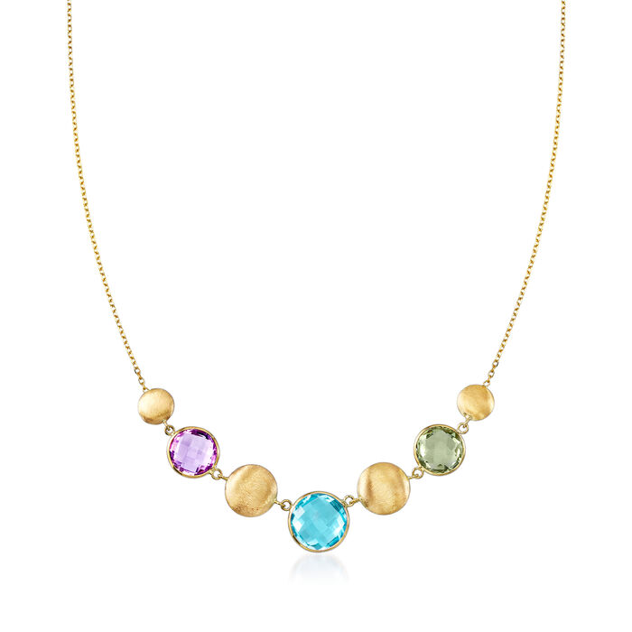14.00 ct. t.w. Multi-Gemstone Necklace in 14kt Yellow Gold, , default