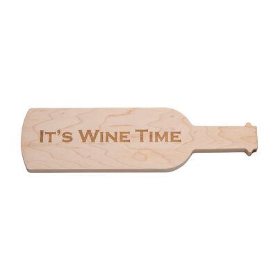 """It's Wine Time"" Wine-Shaped Wooden Serving Board, , default"
