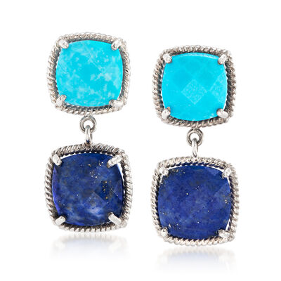 9x9mm Turquoise and 10x10mm Lapis Drop Earrings in Sterling Silver, , default