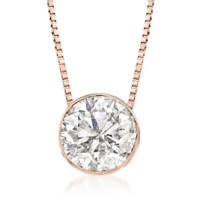 1.00 Carat Diamond Solitaire Necklace in 14kt Rose Gold, , default