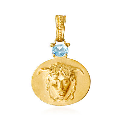 Italian .70 Carat Blue Topaz Medusa Pendant in 18kt Gold Over Sterling, , default