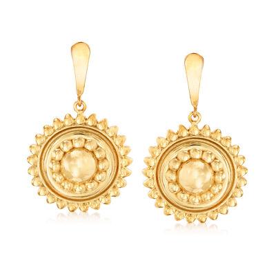 Italian 14kt Yellow Gold Beaded Double-Frame Circle Drop Earrings, , default