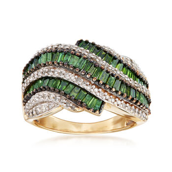 C. 1990 Vintage 2.80 ct. t.w. Green and White Diamond Ring in 14kt Yellow Gold. Size 8, , default
