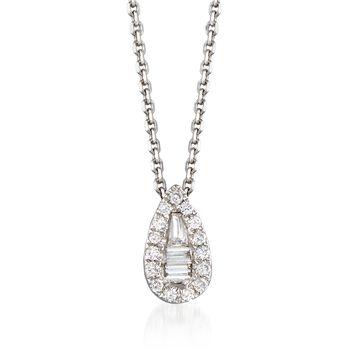 ".12 ct. t.w. Diamond Teardrop Pendant Necklace in 14kt White Gold. 18""., , default"