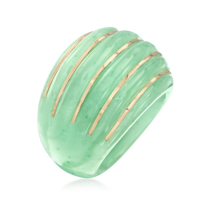 Carved Jade Dome Ring with 14kt Yellow Gold