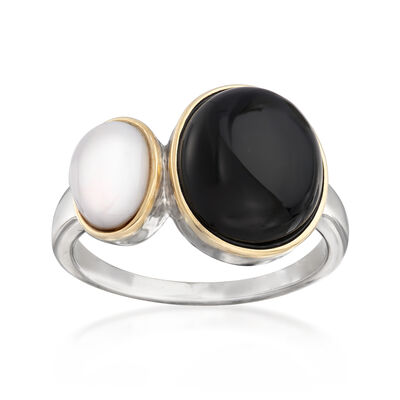 Black and White Agate Ring in Sterling Silver and 14kt Yellow Gold