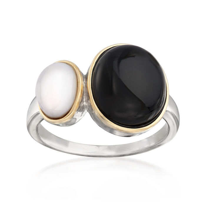 Black and White Agate Ring in Sterling Silver and 14kt Yellow Gold, , default
