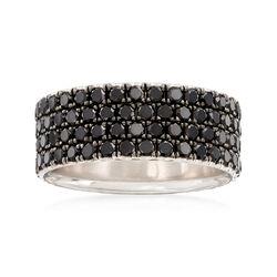 Henri Daussi Men's 4.90 ct. t.w. Pave Black Diamond Wedding Ring in 14kt White Gold, , default