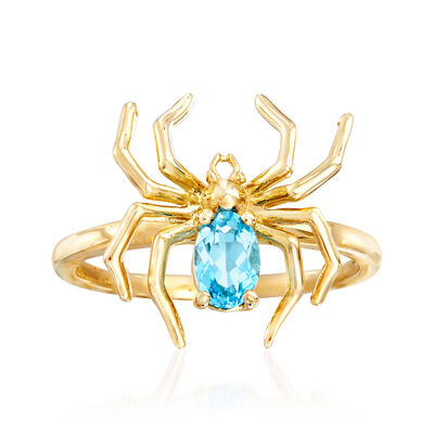 .50 Carat Swiss Blue Topaz Spider Ring in 14kt Yellow Gold