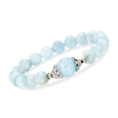 90.00 ct. t.w. Milky Aquamarine Beaded Stretch Bracelet with Sterling Silver, , default