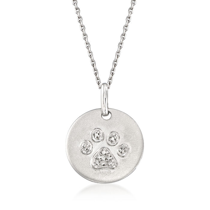 """Paw-Print Necklace with Diamond Accents in Sterling Silver. 16"""", , default"""