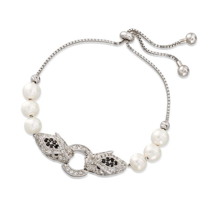 7-7.5mm Cultured Pearl and 1.50 ct. t.w. White Topaz Panther Bolo Bracelet with Black Spinels in Sterling