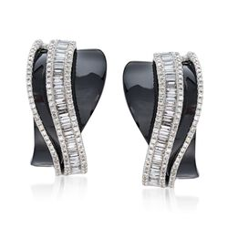 Black Onyx and 1.20 ct. t.w. Diamond Crisscross Earrings in 18kt White Gold, , default