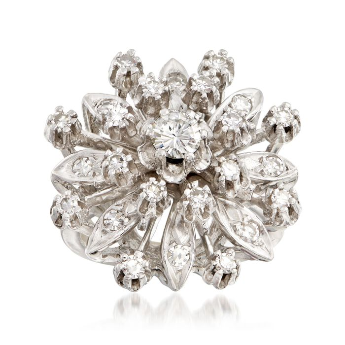 C. 1950 Vintage .95 ct. t.w. Diamond Cluster Ring in 14kt White Gold. Size 5.75, , default