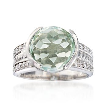 C. 1990 Vintage 5.25 Carat Green Amethyst and .75 ct. t.w. Diamond Ring in 18kt White Gold. Size 6, , default