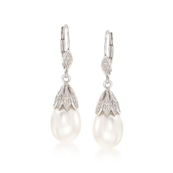 9-9.5mm Cultured Pearl and .10 ct. t.w. Diamond Drop Earrings in Sterling Silver, , default