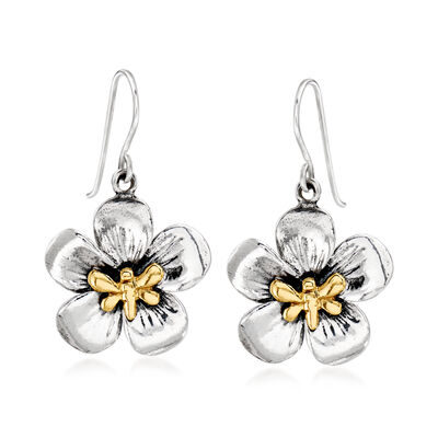 Sterling Silver and 14kt Yellow Gold Flower and Bee Drop Earrings