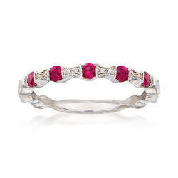 .20 ct. t.w. Ruby Stackable Ring With Diamond Accents in 14kt White Gold, , default