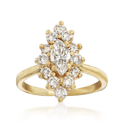 C. 1980 Vintage 1.25 ct. t.w. Diamond Ring in 18kt Yellow Gold, , default