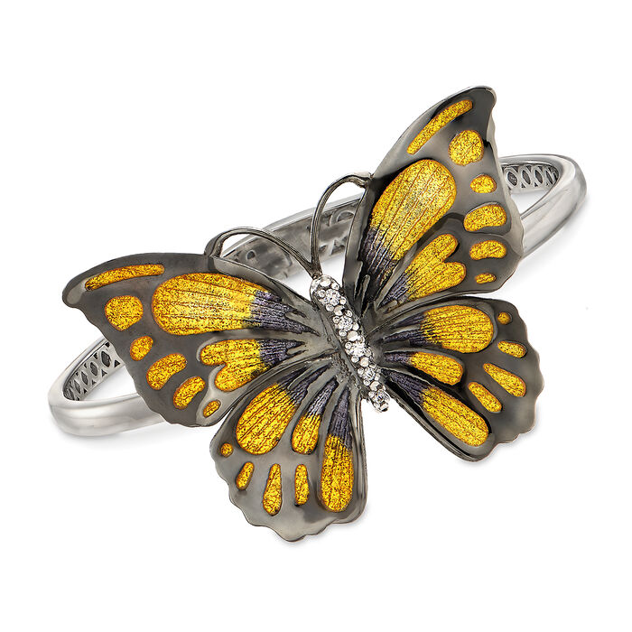 "Enamel and CZ Butterfly  Bangle Bracelet from Italy. 8"", , default"