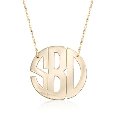 14kt Yellow Gold Monogram Cutout Necklace, , default